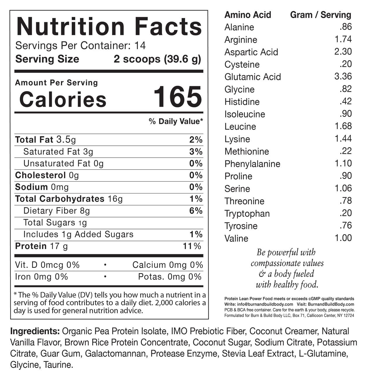 Protein Lean Vanilla Nutrition Facts.