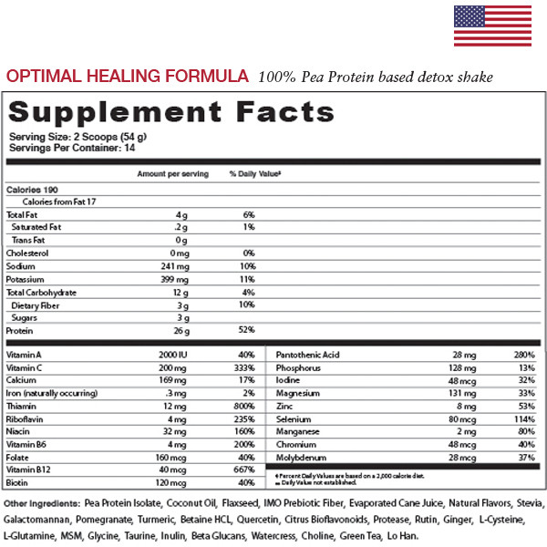 Optimal Healing Formula Supplement Facts