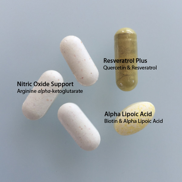 One Alpha Lipoic Acid tablet Three Nitric Oxide Support caplets One Resveratrol Plus capsule. There are 60 individual Packs per container