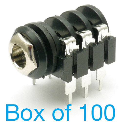 """box of 100 1/4"""" Stereo Switched Enclosed Jack - Raised PCB Pins"""