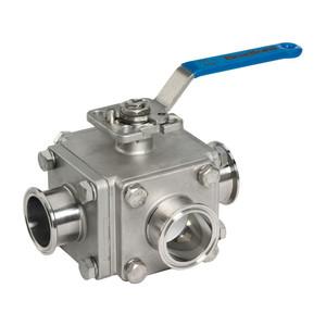 Dixon Muti-port 3-way Sanitary Stainless Steel Ball Valves - 1 1/2 in. - 'L' Port