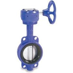 Cast Iron Gear Operated Wafer Body Butterfly Valve Nickle Plated Disc Buna-N Seat - 6 in. - Buna-N