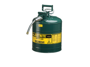 Justrite Type II AccuFlow 5 Gal Safety Gas Can w/ 5/8 in. Spout (Green)