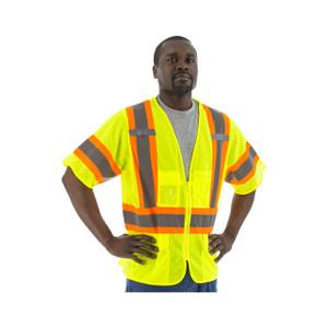 Majestic High Visibility ANSI 3 Large Mesh Zipper Vests