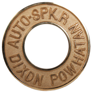 Dixon Powhatan 2 1/2 in. x 3 1/4 in. Polished Brass Round Identification Auto-Sprinkler Plate