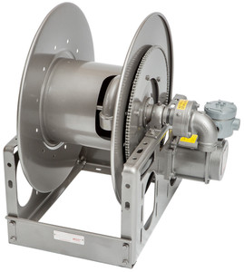 Hannay Explosion Proof 12V Electric Rewind Aviation Reels - 1 1/2 in. x 150 ft. - Hose Not Included - HRVEPJ243334