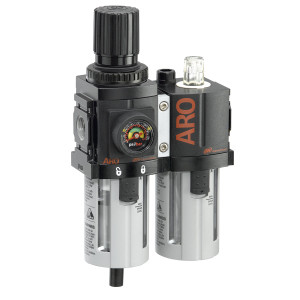 ARO 1500 Series 1/4 in. 3-Piece Combination Filter Regulator + Lubricator w/ Metal Bowl & Manual Drain