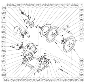 "1500 Series Power or Crank Rewind Reel Parts - 1"" Bearing (EFH 1500 Only) - 02A, 02C, 02E, 25A, 27A"