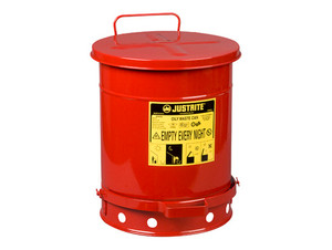 Justrite 10 Gal Oily Waste Can w/ Foot Operated Cover (Red)