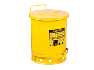 Justrite 10 Gal Oily Waste Can w/ Foot Operated Cover (Yellow)