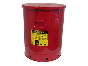 Justrite 10 Gal Oily Waste Can w/ Hand Operated Cover (Red)