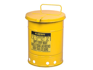 Justrite 10 Gal Oily Waste Can w/ Hand Operated Cover (Yellow)