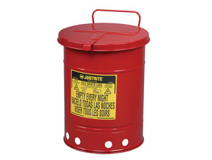 Justrite 14 Gal Oily Waste Can w/ Hand Operated Cover (Red)