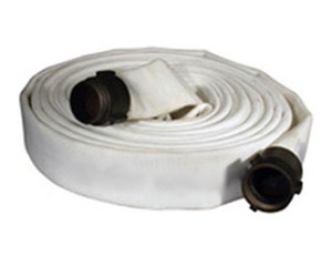 Key Fire Hose 500# Single Jacket 1 in. Fire Hoses w/ Aluminum NPSH Rocker Lug Couplings (White)