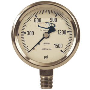 Dixon 2 1/2 in. Dial 1/4 in. NPT Lower Mount All Stainless Liquid Filled Gauges