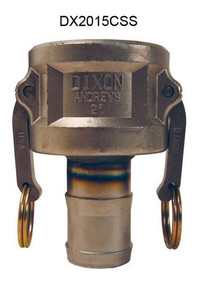 Dixon Stainless Steel Part C Reducing Female Coupler x Hose Shank Coupling