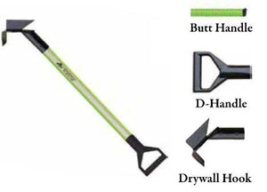 Leatherhead Tools 3 ft. Dog-Bone Drywall Hook w/D-Handle - Lime