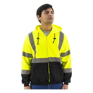 Majestic HI VIS ANSI Class 3 Lime Zipper Front Sweatshirt with Hood
