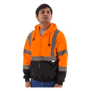 Majestic HI VIS ANSI Class 3 Orange Zipper Front Sweatshirt with Hood