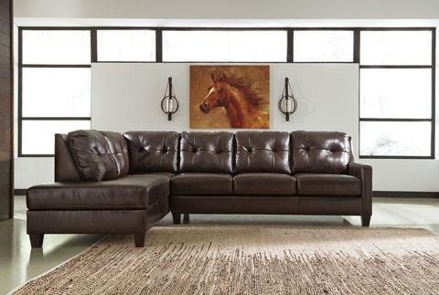 Harley Genuine Leather Left Facing Chaise Brown