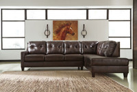 Harley Genuine Leather Right Facing with queen sofa bed Brown