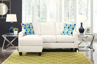 Ivy Fabric Reversible Sectional White