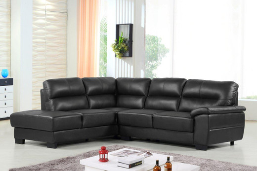 Conway Genuine Leather Left Facing Sectional Black