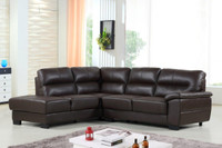 Conway Genuine Leather Left Facing Sectional Brown