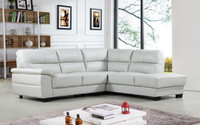 Conway Genuine Leather Right Facing Sectional Grey