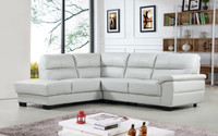 Conway Genuine Leather Left Facing Sectional Grey