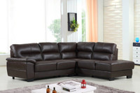 Conway Genuine Leather Right Facing Sectional Brown