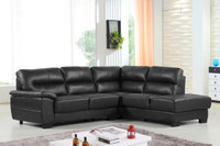 Conway Genuine Leather Right Facing Sectional Black