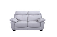Evan Genuine Leather Loveseat Grey