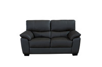 Milton Genuine Leather Loveseat Black