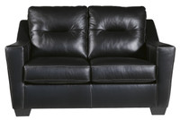 Dupree Genuine Leather Loveseat Black