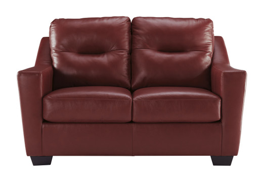 Dupree Genuine Leather Loveseat Red