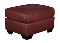 Dupree Genuine Leather Ottoman Red