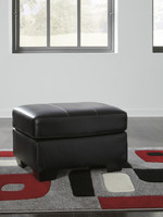 Dupree Genuine Leather Ottoman Black