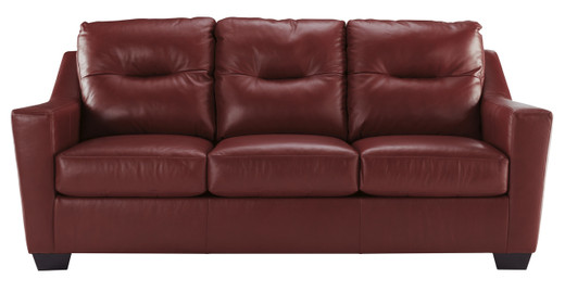 Dupree Genuine Leather Sofa Bed Red