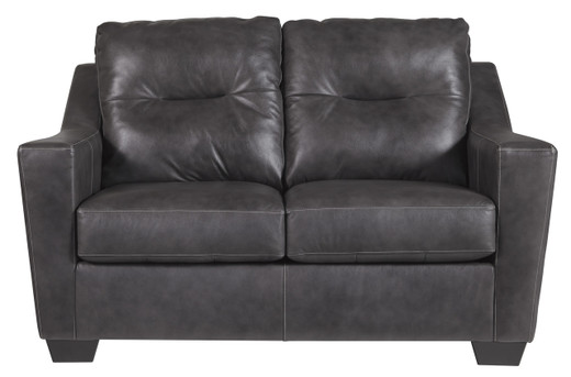 Dupree Genuine Leather Loveseat Grey
