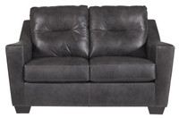 Dupree Genuine Leather Loveseat Grey