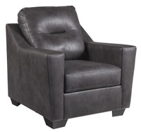 Dupree Genuine Leather Chair Grey