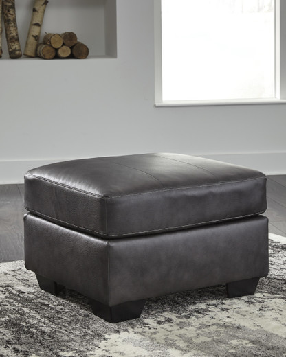 Dupree Genuine Leather Ottoman Grey