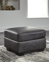 Dupree Genuine Leather Ottoman Grey