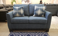 Morton Blue fabric Love Seat