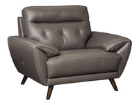 Lexie Genuine Leather Chair Grey