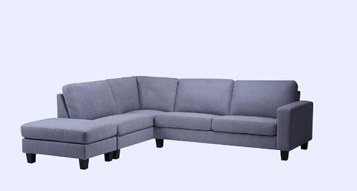 Derby Fabric Left Hand Facing Sectional with Ottoman Grey