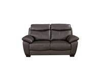 Evan Genuine Leather Loveseat Brown