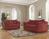 Madison Fabric Sofa & Love Seat Red