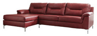 Adair Faux Leather Left Facing Sectional Red